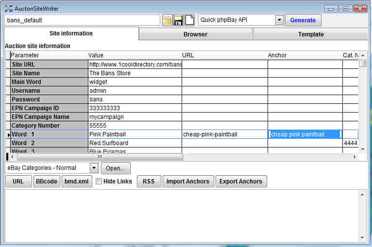 AuctionSiteWriter screenshot